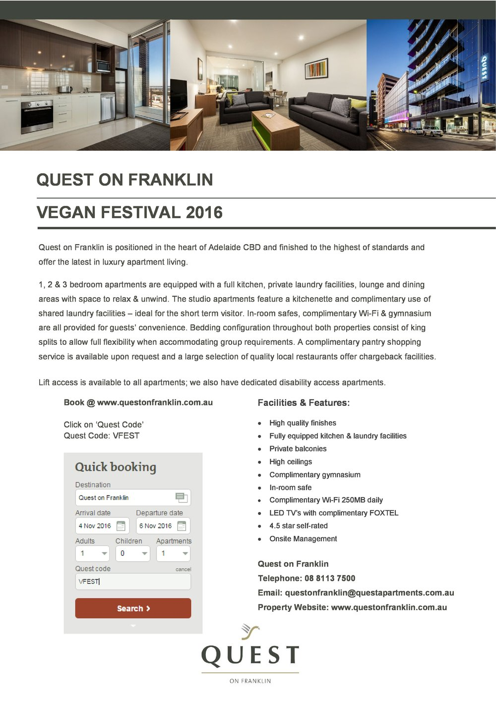 Quest on Franklin partners with Vegan Festival 2016