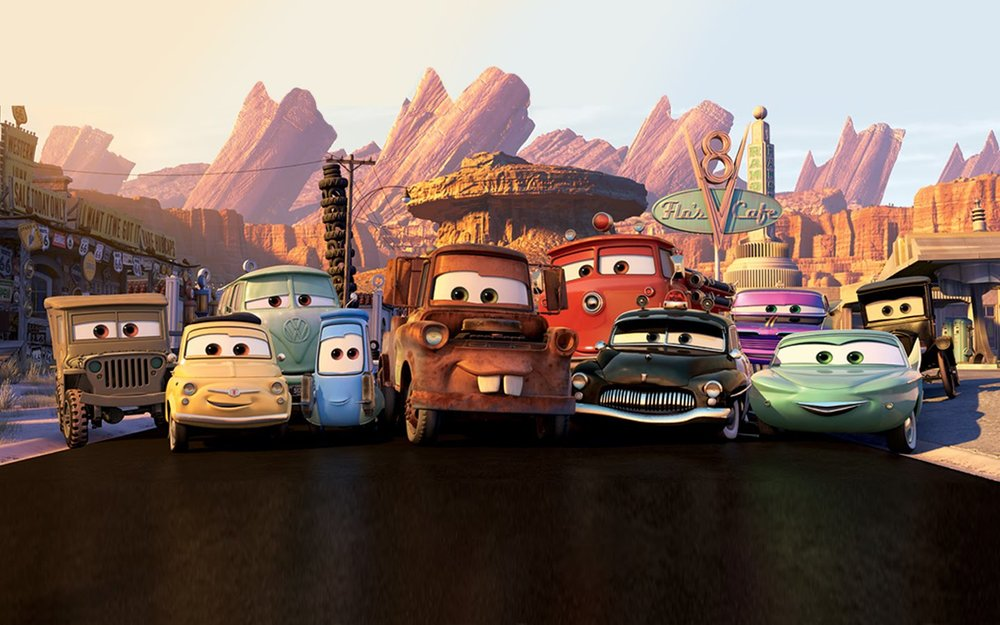Her eru fleiri Cars-figurar millum annaðMater, Guido, Flo og Doc Hodson.