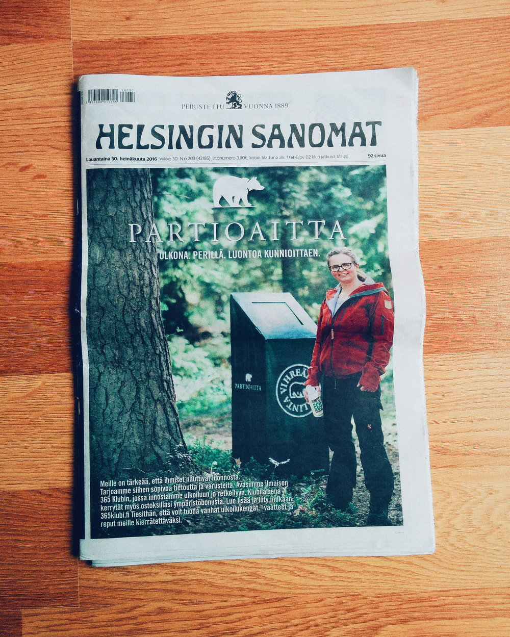 One of my photos for Partioaitta on the front cover of Helsingin Sanomat.