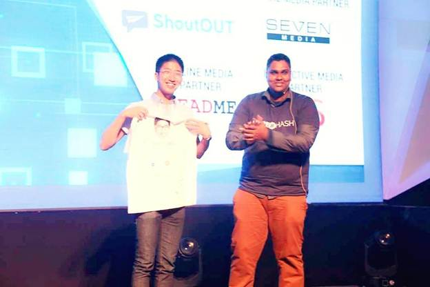 Hype#Hash founder Ravihans B. Wetakepotha with  Brian Wong at the AngelHack Finals