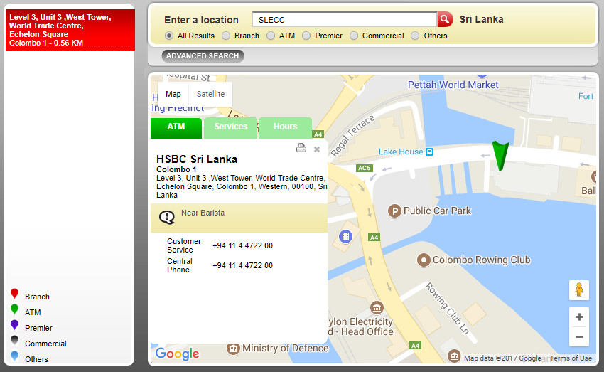 This is the nearest HSBC ATM, to the venue.