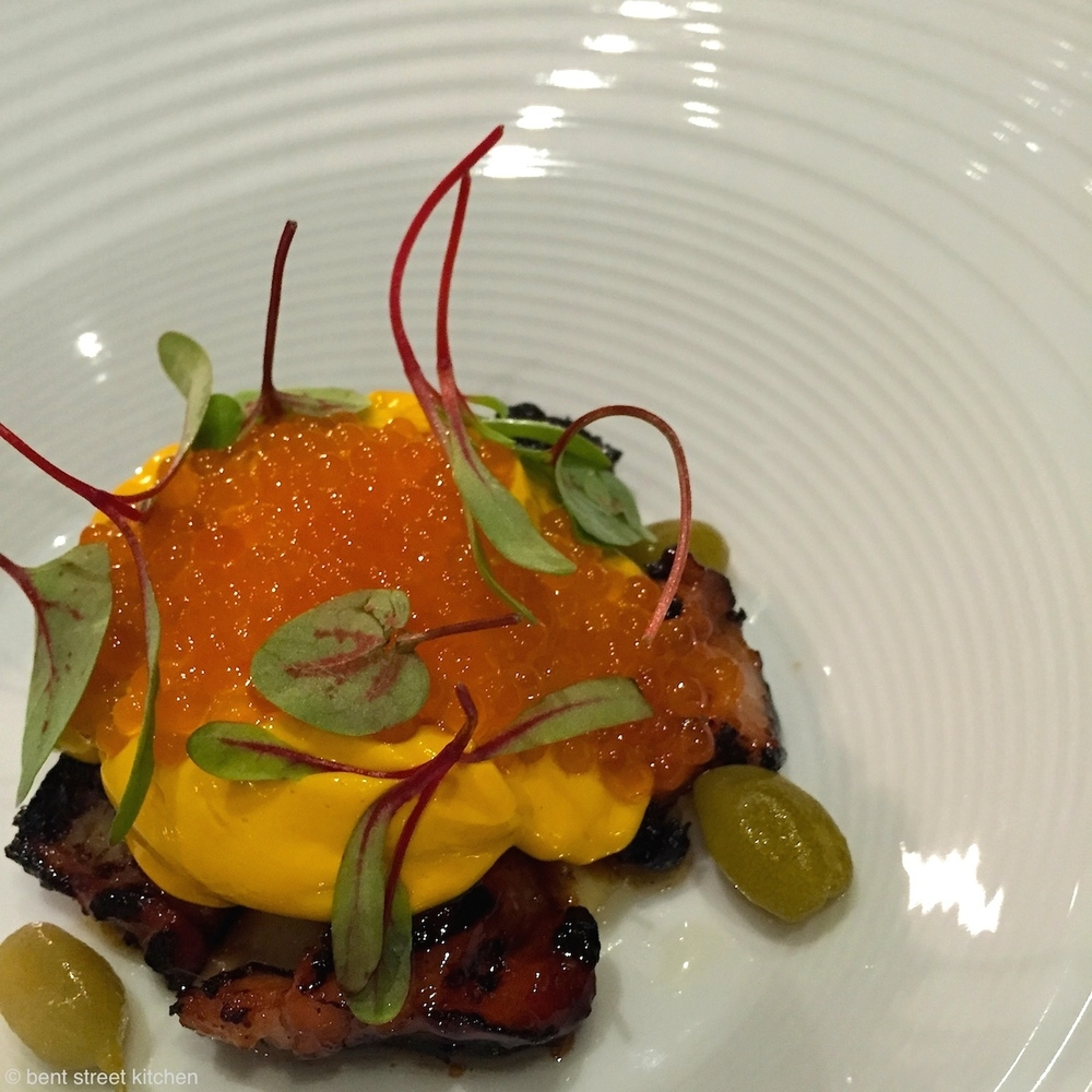Filipino BBQ chicken tails, leather jacket cheeks, quince puree, sea urchin emulsion, salmon roe and desert limes