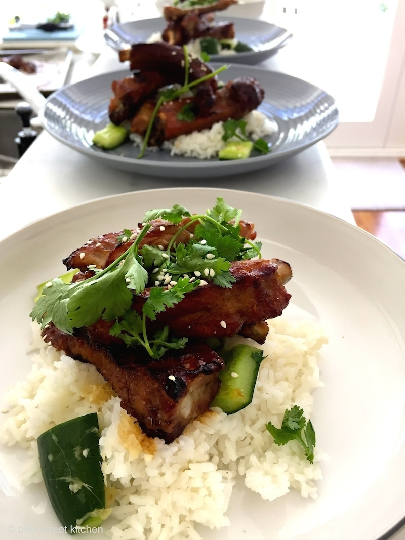Hoisin Pork Ribs and Cucumber Pickle by Bent Street Kitchen