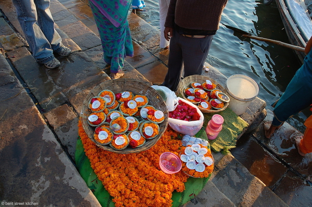 Flower offerings on The Ganges by Bent Street Kitchen
