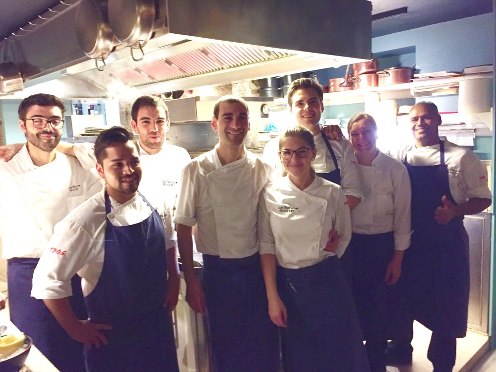 Head chef Martin Vazquez (4th from left) and his team