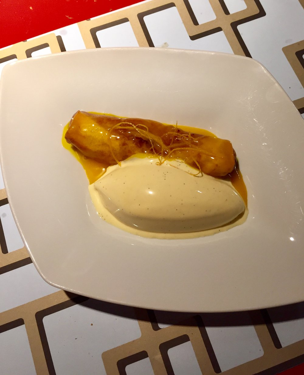 Plantain in pastry with vanilla ice cream and orange sauce (divine!)