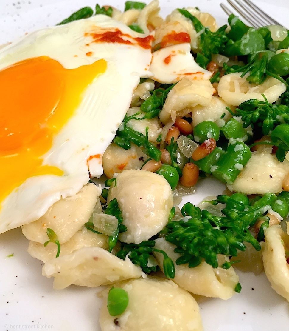 broccolini orecchiette with fried egg and harissa