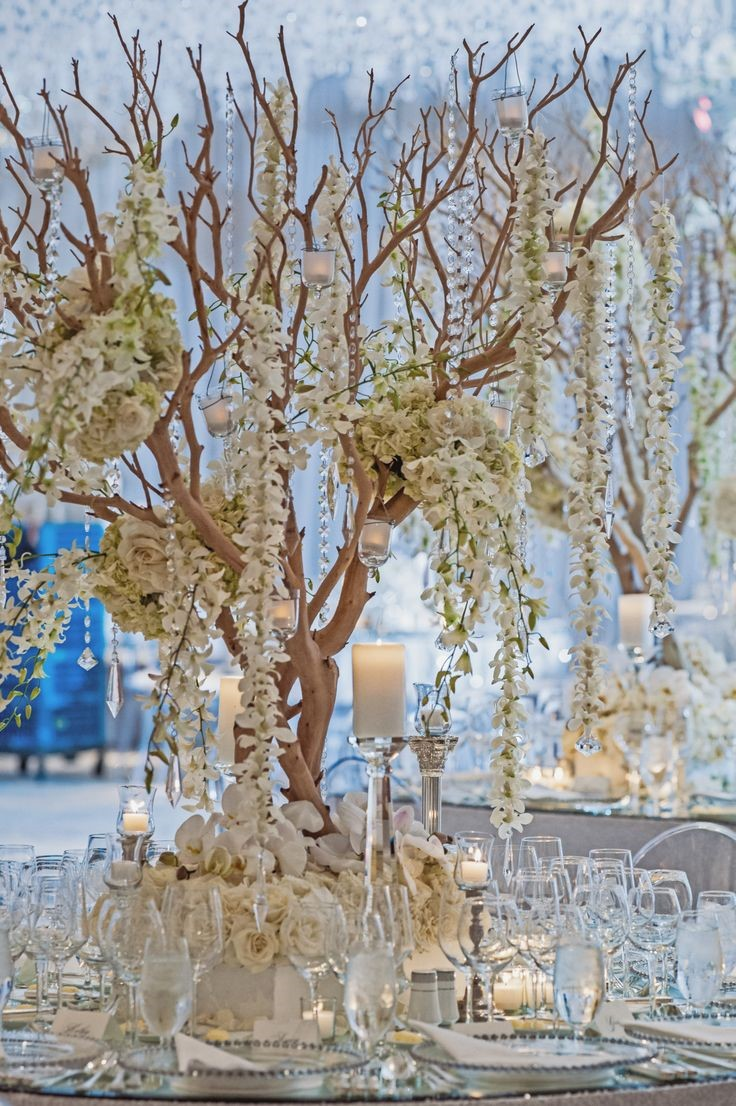 3. TREES  Tree-like topiaries and potted plants are popular because they add a warm garden feel and height to the room. Baby spruce or tree-like topiaries can serve as centerpieces, while larger ones, like birch trees or lemon trees, can decorate your entrance or the edges of the dance floor.