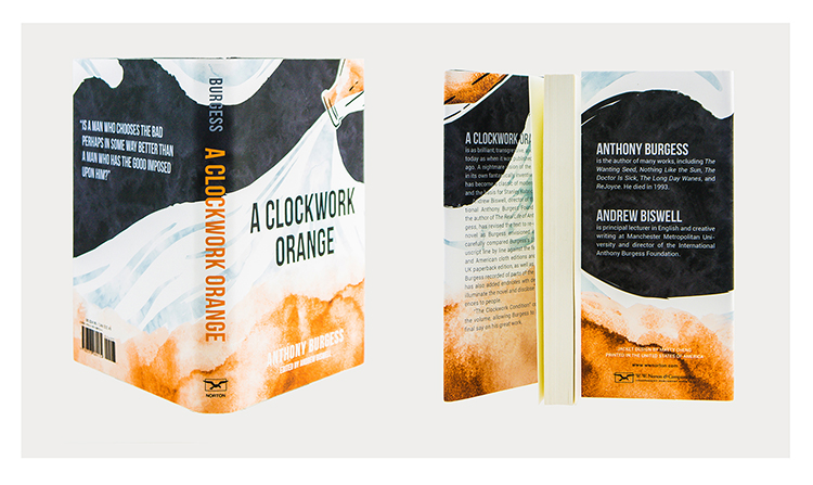 """book jacket redesign for """"the clockwork orange"""" by anthony burgess.  concept based on the korova milk bar and the idea of drugs dissolving in the milk"""