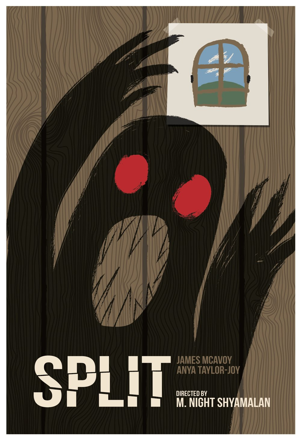 minimalist movie poster for split  concept based around hedwig's drawings of the beast