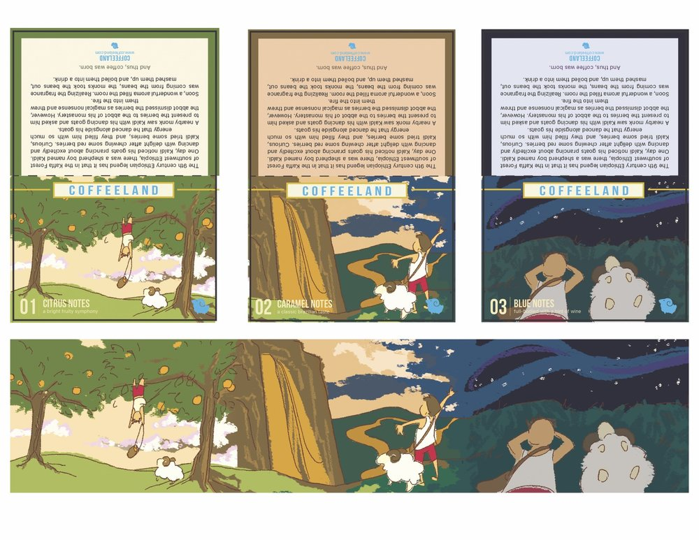an illustrative approach to a series of infographic cards