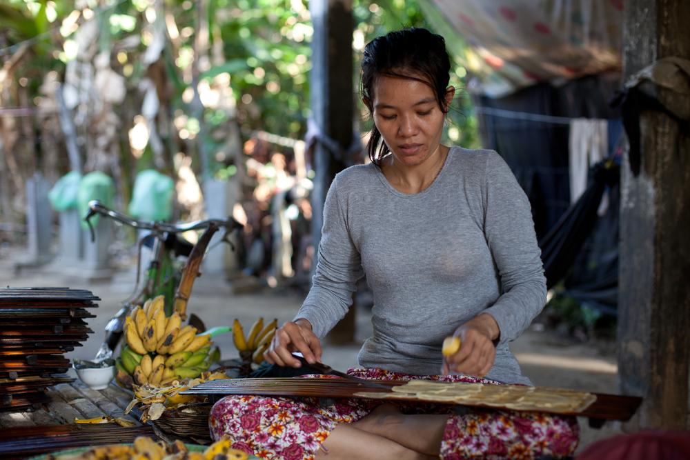 Woman making banana leather