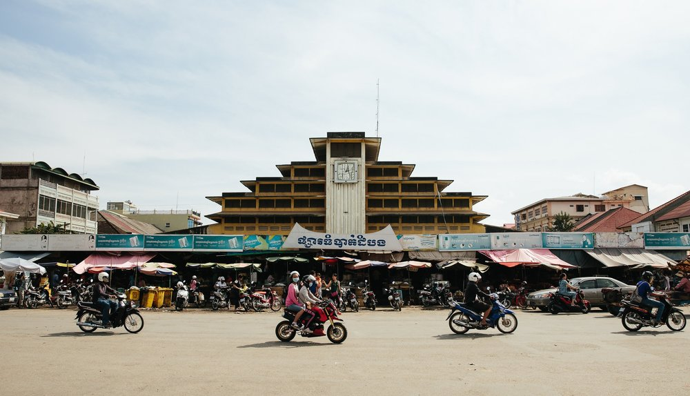 Psar Nat (Nat Market), a central feature of Battambang life, built by the French in the 1960s.