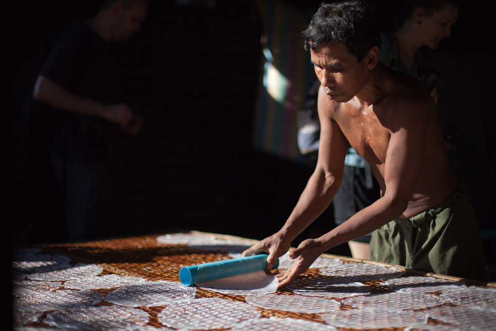 Try your skills at making rice Paper on our Battambang bike tour - see if meet the standard!
