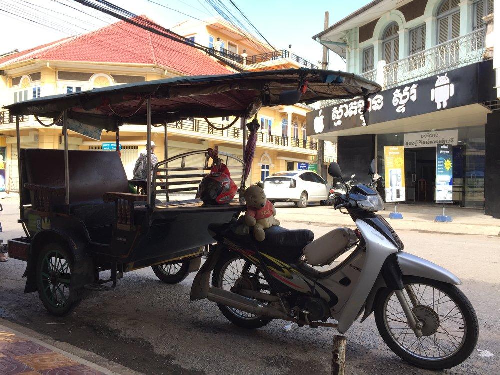 Battambang Tuk Tuk parking nearby P'sa Nat