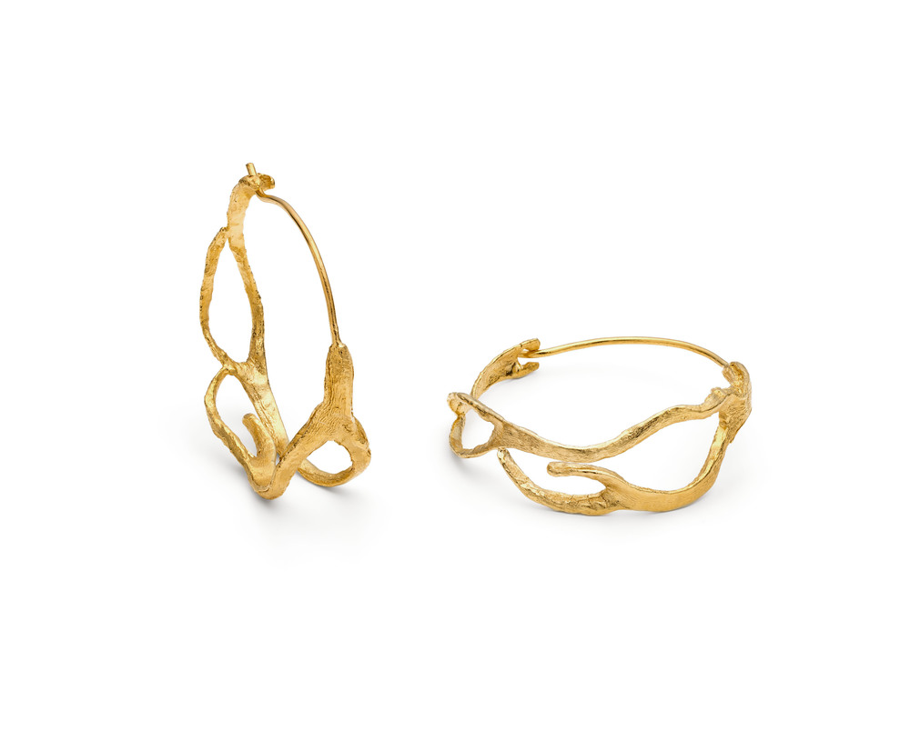 Long Seaweed Hoops in 22kt Yellow Gold plate £176