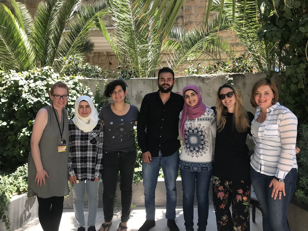 From left to right: Amanda (team lead, DATA4CHANGE alumni), Shorouq (graphic designer from Jordan), Giselle (data researcher from the UK), Fahed (developer from Jordan based at ARIJ in Jordan), Eman (investigative researcher based at ARIJ in Jordan), Tiz (graphic designer from Italy), Hassel (data journalist from Costa Rica).