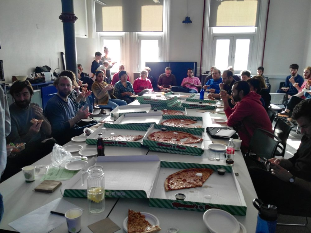 Pizza break at Research Purge, Trinity College Dublin, 17 October, 2017. Photography by Kate Strain.