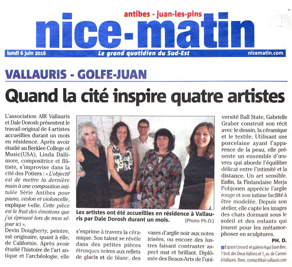 Nice-Matin newspaper article on resident artists exhibition in Vallauris, France