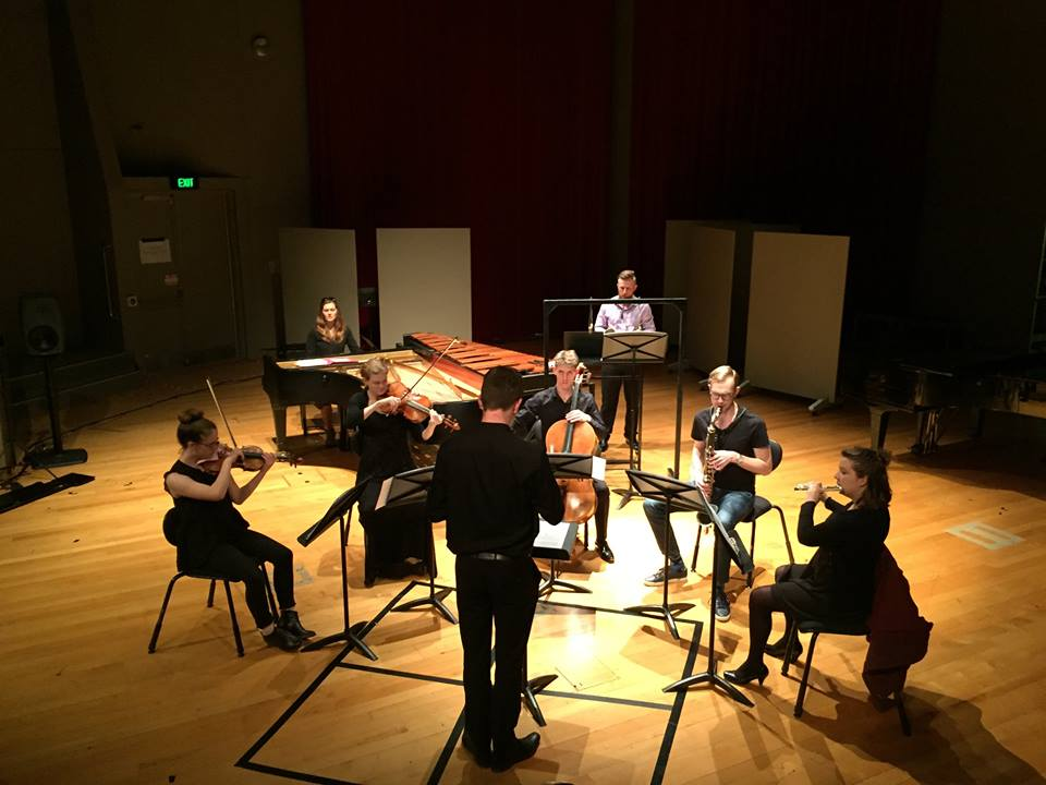 Rehearsal for the Douglas Lilburn Prize Concert in November 2017. Second Equal Prize Winner.