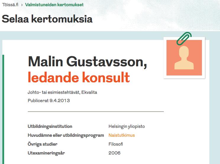 Valmistuneiden kertomukset  (Helsingin yliopiston koulutus- ja kehittämispalvelut työssä.fi) 9.4.2013