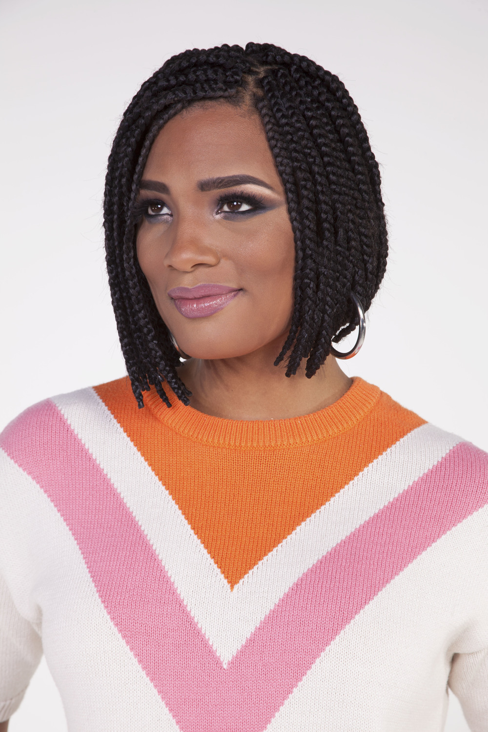 "Box Braid Bob, Individual Box Braids  Brand: Harlem 125  Product: Kima Braid X-Long 84"" in Color 1B"