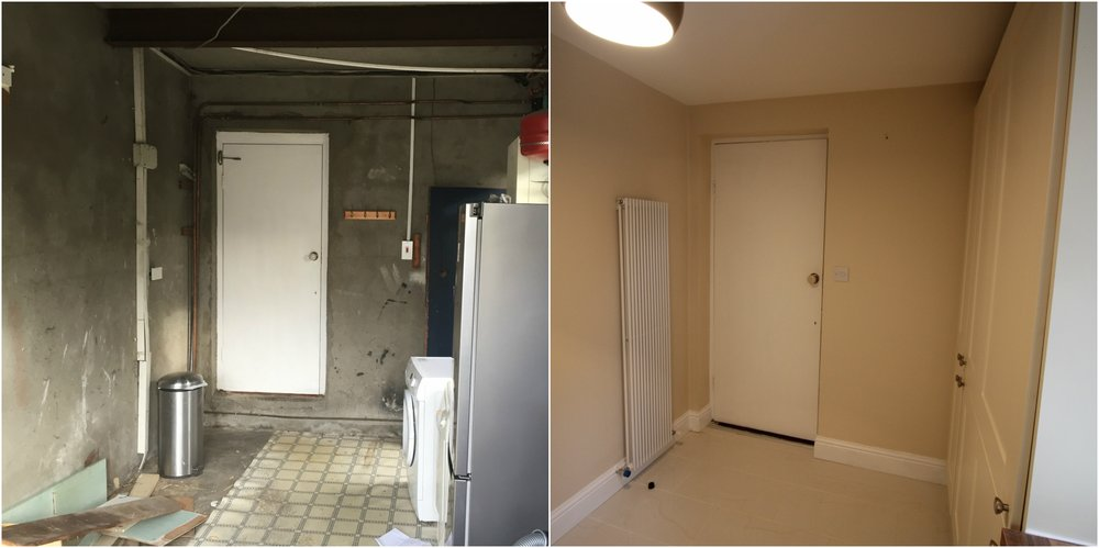 before and after of a garage converted