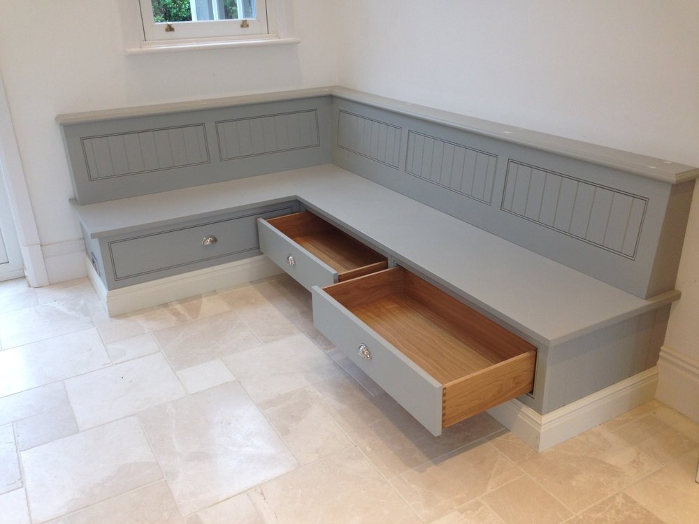 Corner bench with storage