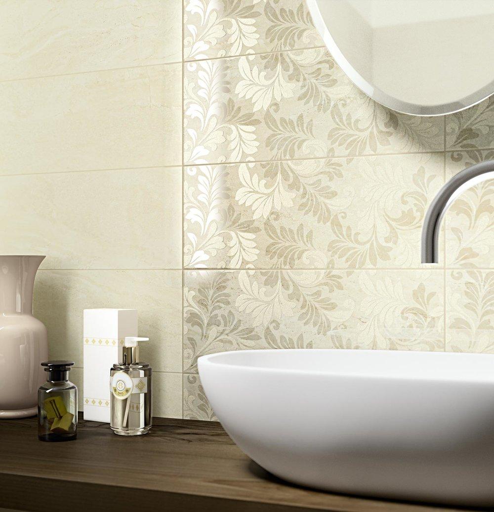 Stylish wash hand basin with splashback