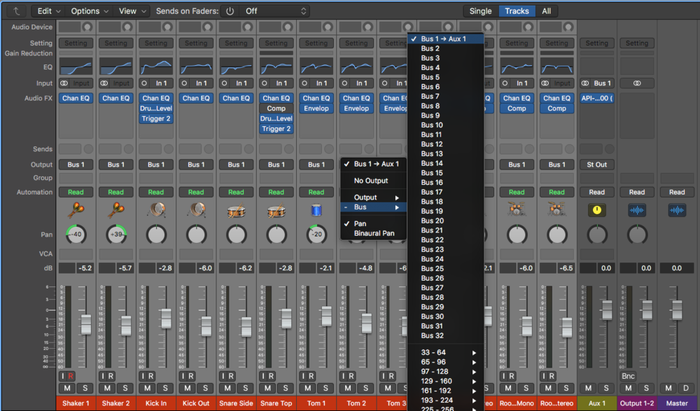 Create Sub Mixes with Busses: Select multiple channels in the mixer, then click on the output tab to sum all channels to an Aux Track via a Bus.