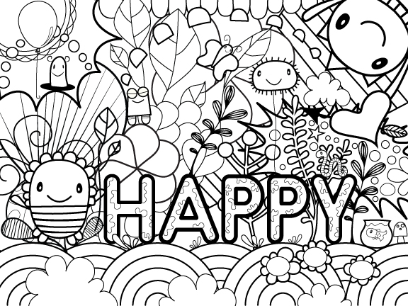 Happy coloring page