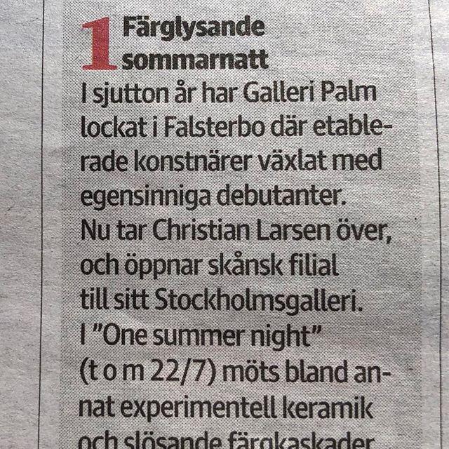 """Carolina Söderholm tipsar i Sydsvenskan-Missa inte!! Utställningen """"One Summer Night"""" pågår t o m söndagen den 22 juli Öppet denna veckan tisdag-söndag kl 12-17 Hjärtligt välkomna!#christianlarsenfalsterbo #mårtenmedbo #frankbowling #falsterbo2018"""