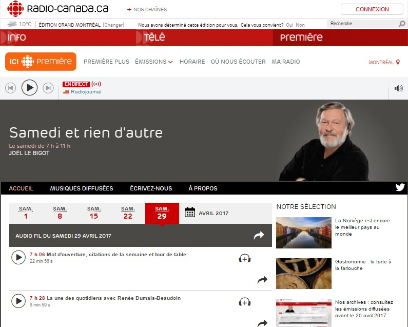 Radio-Canada Première, 29 mars 2017