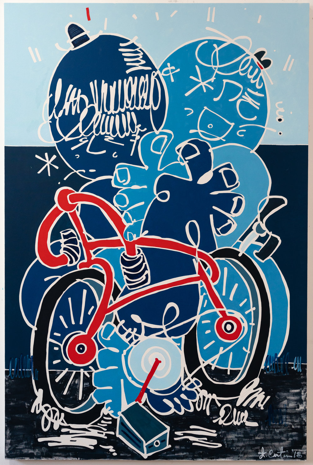 Two Wheels, Five Hearts  (2018)  48x72 inches  Oil paint on canvas