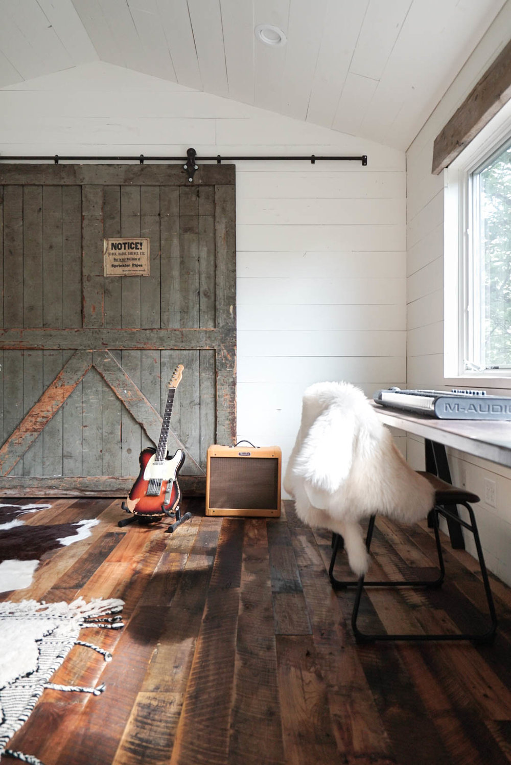 scandinavian modern office full barn door