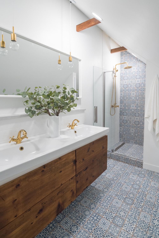 modern attic bathroom reclaimed wood blue tile