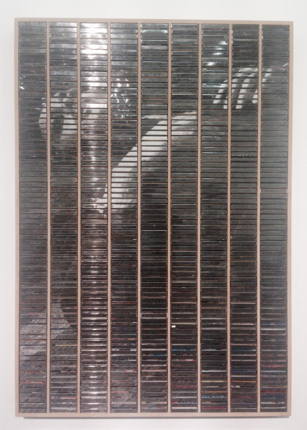Gregor Hilderbrandt  The Queen Is Dead, 2015 Inkjet print, plastic cassette tape boxes in wooded case
