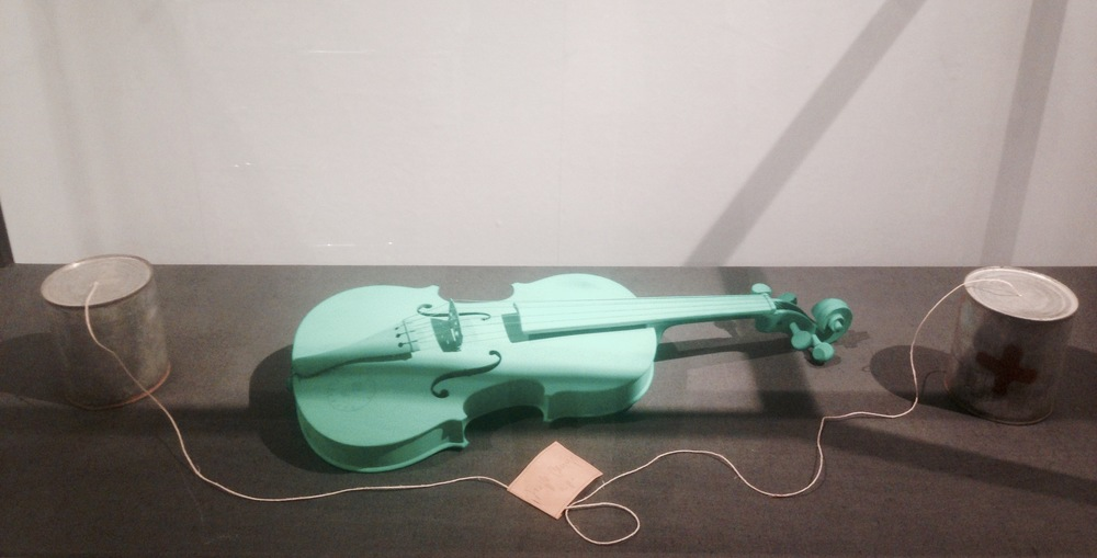 Joseph Beuys Green Violin / Telephone S – – – – Ǝ], 1974 violin, paint/tin, oil paint (Braunkreuz), string, paper. Installed in vitrine: 183 x 154.5 x 63.5 cm.