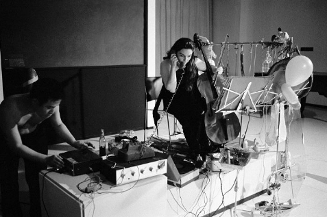 """Charlotte Moorman performs John Cage's '26'1.1499"""" for a String Player', Chicago, 1969"""