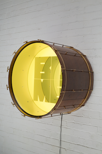 Iván Navarro, Bomb, 2016 Drum, LED lights, mirror, one-way mirror and electric energy