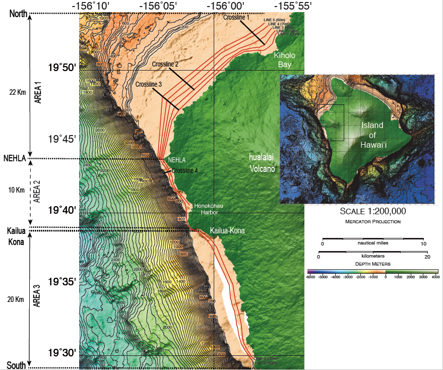 The marine CSEM survey layout: The red lines denote the parallel survey towlines, whereas the black lines represent the survey crosslines. Right inset: Bathymetry/elevation map of the island of Hawaiʻi. The survey area is indicated by black rectangular.