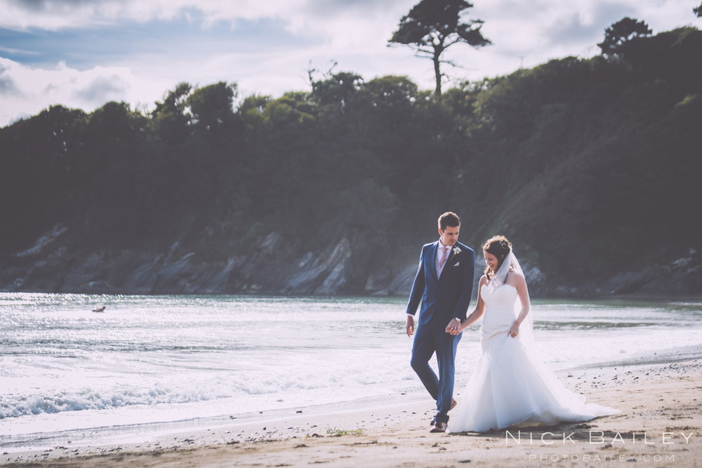 Caerhays Castle beach Wedding.