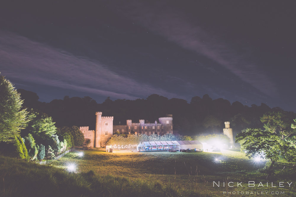 Caerhays Castle Wedding at night.
