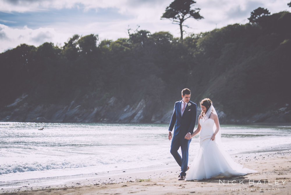 beach wedding at Caerhays