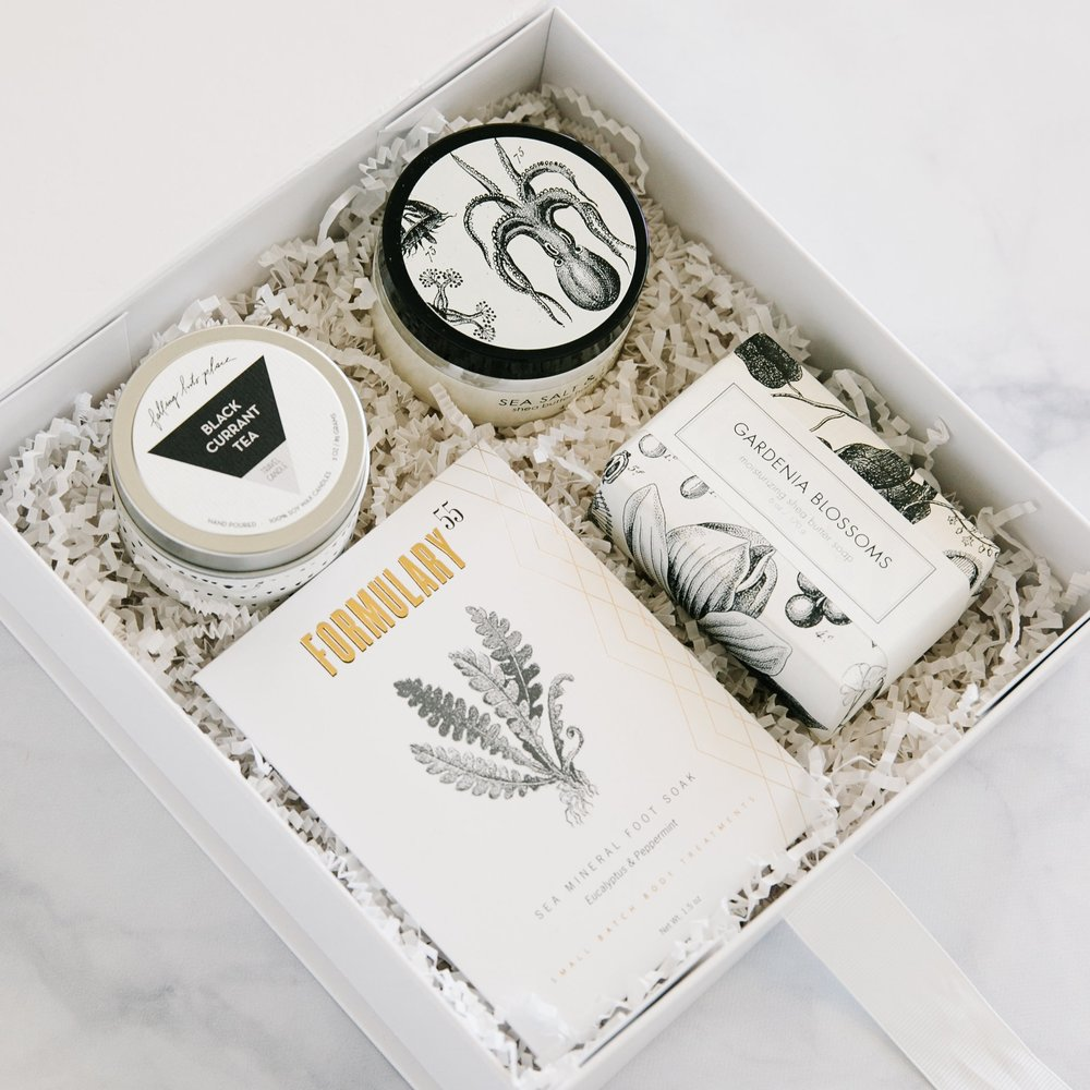 "A keepsake that communicates love + self care!  O ur petite, relaxation gift box,   ""GOOD VIBES"" ,  comes with a card, foot soak, a bath bar, hand creme + a candle!"