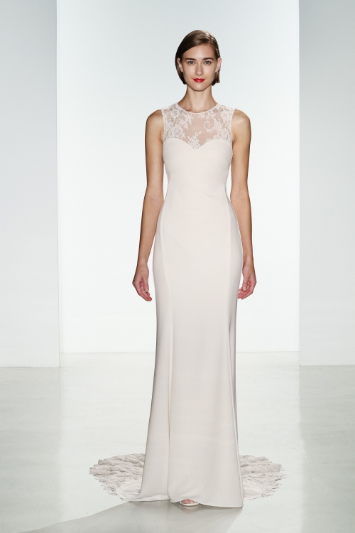 742dca5f6586 Myka by Nouvelle Amsale. slim-crepe-bridal-gown-with-lace-illusion-bodice-