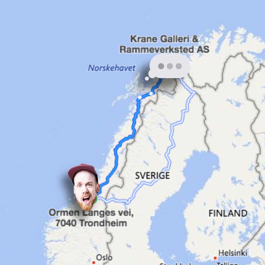 Avstanden fra atelieret mitt i Trondheim til Krane galleri i Tromsø.