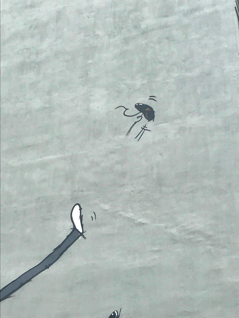 """En bit av veggen """"Mere fart"""" jeg har malt på Bakklandet i Trondheim."""
