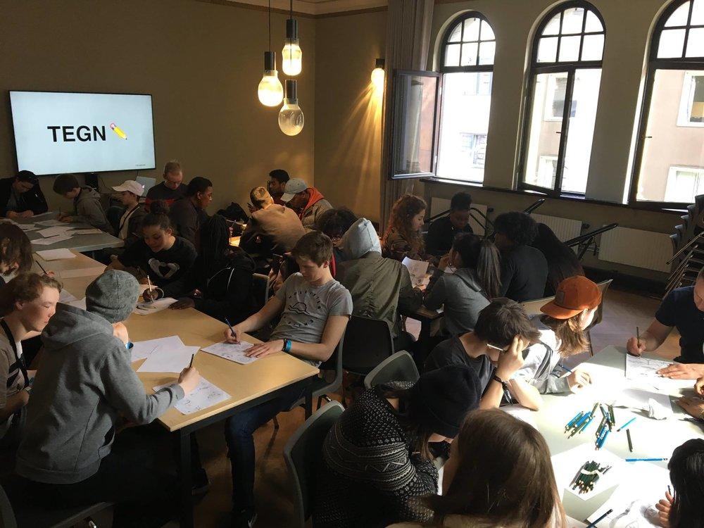 En av fire tegneworkshoper jeg holdt for ungdommer på UKM i Oslo.