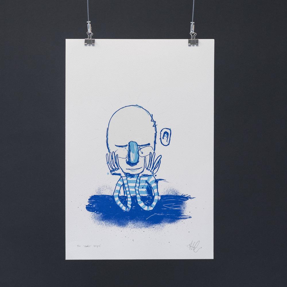 """""""Usett II"""", 2018, trefarget silketrykk. 55x37,5 cm. Avbildet i lyset."""